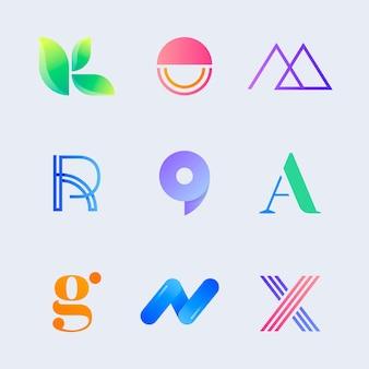 Set met creatieve bedrijfslogo's met kleurovergang