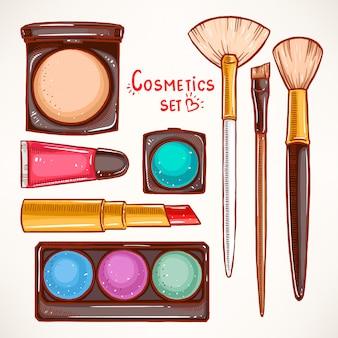Set met decoratieve cosmetica van de vrouw. handgetekende illustratie.