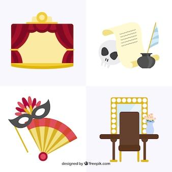 Set met decoratieve theater artikelen