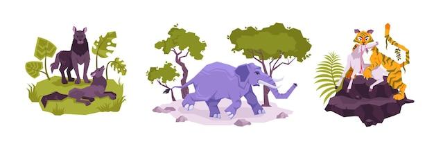 Set met drie geïsoleerde composities van platte tropische planten en dieren