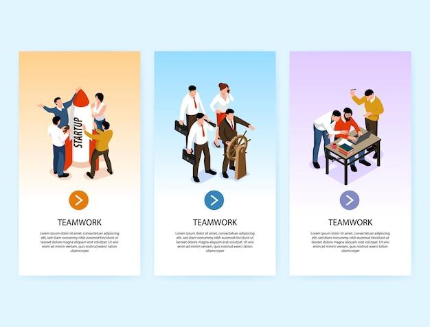 Set met drie isometrische teamwerk verticale banners