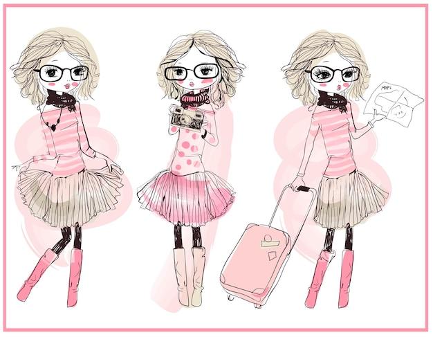 Set met drie schattige cartoon vector meisjes