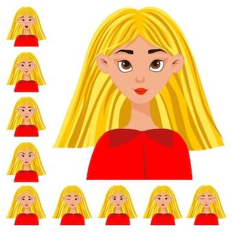 Set met een vrouwelijk personage met verschillende gezichtsuitdrukkingen en emoties. cartoon stijl. vector illustratie.