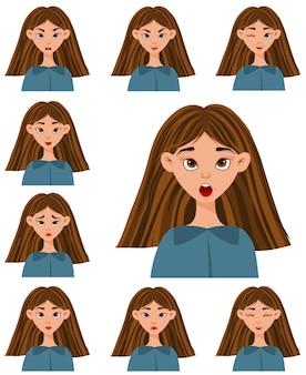 Set met een vrouwelijk personage met verschillende gezichtsuitdrukkingen en emoties. cartoon stijl.