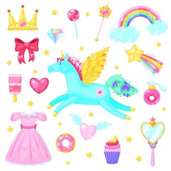 Set met eenhoorn harten jurk snoep, wolken, regenboog en andere elementen