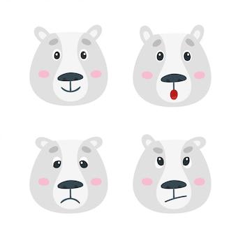 Set met gezichten van ijsbeeremoties. het leuke beeldverhaal draagt geïsoleerd op wit