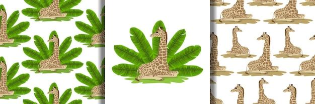 Set met giraf- en bananenwaaier en naadloze patronen