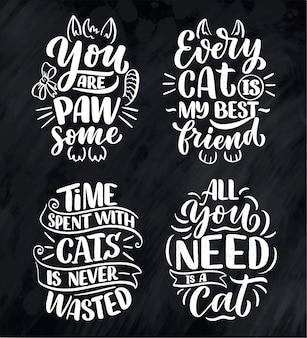 Set met grappige belettering citaten over katten om af te drukken in de hand getekende stijl.