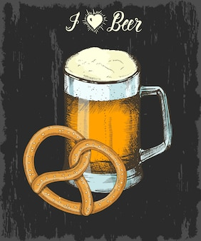 Set met hand getrokken beker bier en krakeling. handgemaakt belettering. schetsen. oktoberfest-objecten