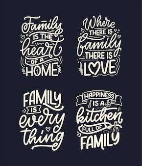 Set met hand getrokken belettering citaat in moderne kalligrafiestijl over familie