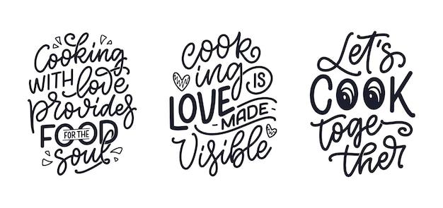 Set met handgetekende belettering citaten in kalligrafiestijl over koken