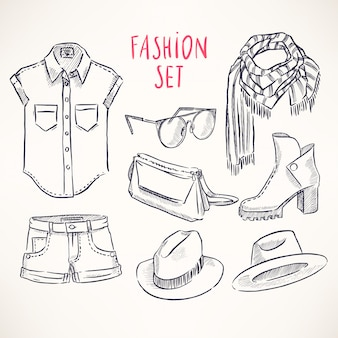 Set met handgetekende jeugdkleding en accessoires