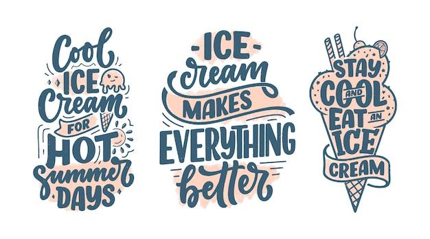 Set met handgetekende letters composities over ijs. grappige seizoenslogans.