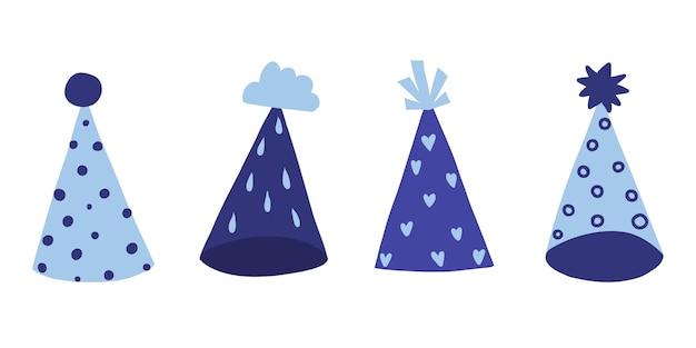 Set met hoeden voor verjaardagspetten met verschillende patronen vectorillustratie op witte achtergrond