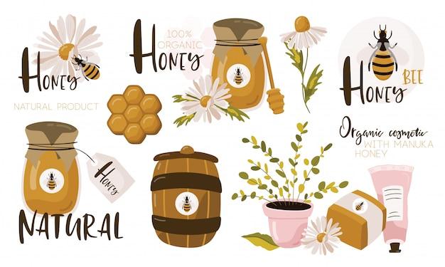 Set met honing elementen.