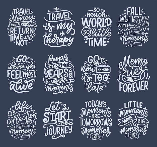 Set met inspiratiecitaten over reizen en goede momenten