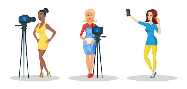 Set met jonge mooie vrouwen die video, tutorial opnemen.