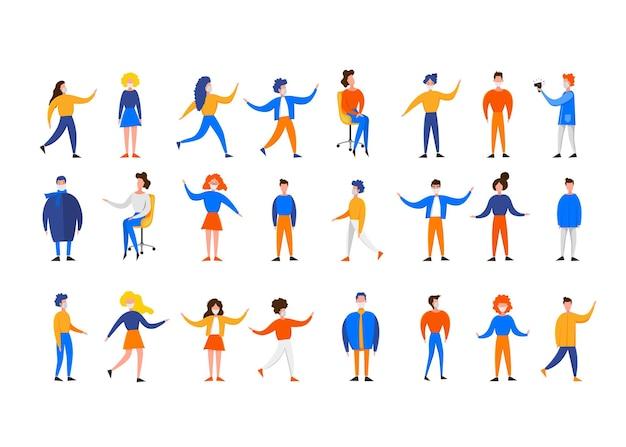 Set met karakters van vrouwen en mannen in maskers in verschillende poses geïsoleerd op een witte achtergrond. coronavirus 2019-ncov-uitbraak. pandemische epidemiologie concept. platte vectorillustratie.