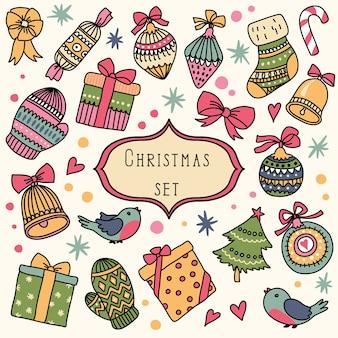 Set met kerst vintage elementen