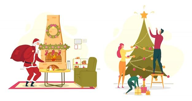 Set met kerstman en gelukkige familie
