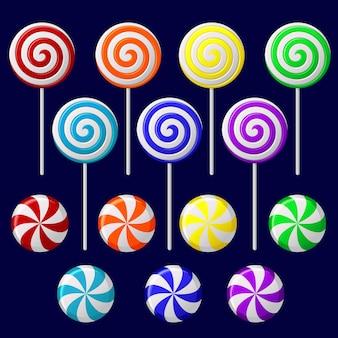 Set met kleurrijke snoepjes op donkere achtergrond