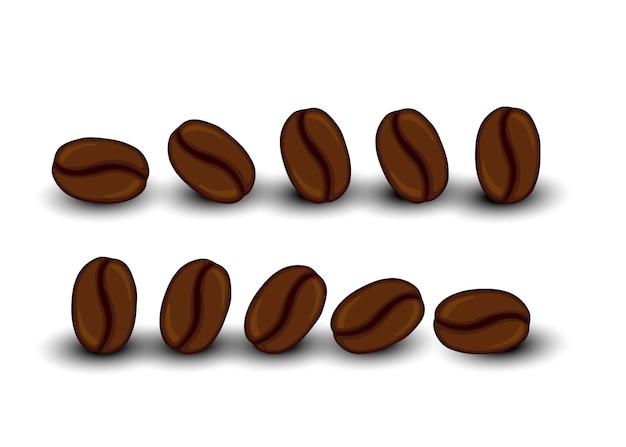 Set met koffiebonen. cartoon-stijl. vector illustratie.