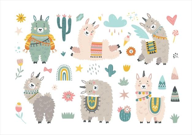 Set met lama, cactus, regenboog en met de hand getekende elementen.