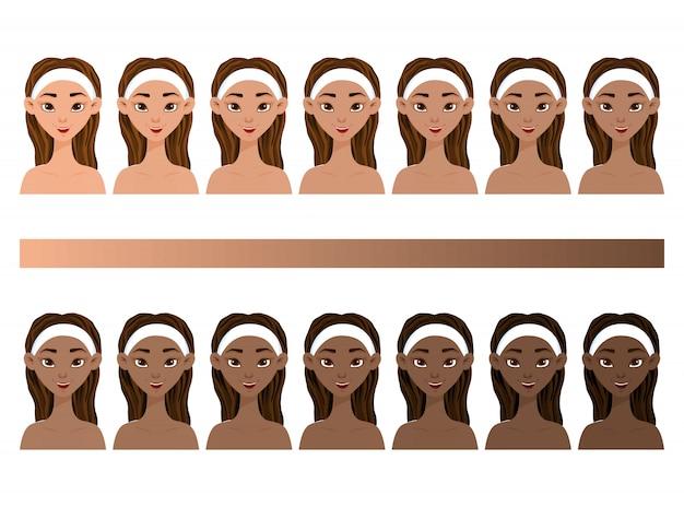 Set met meisjes met verschillende huidskleuren van licht tot donker.