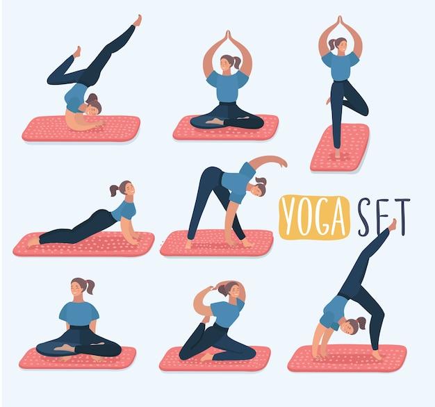 Set met mooie vrouw in verschillende houdingen van yoga