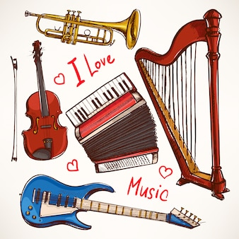 Set met muziekinstrumenten. accordeon, viool, basgitaar. handgetekende illustratie.