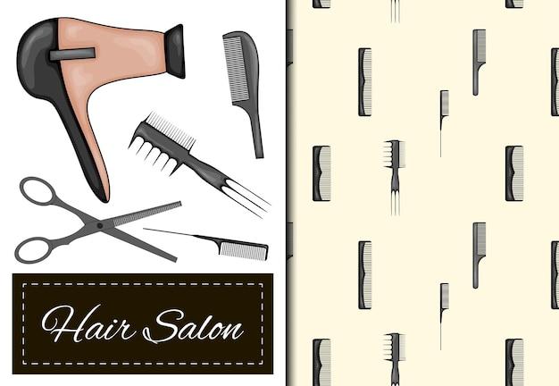 Set met naadloos patroon en items voor kapsalon. cartoon-stijl. vector illustratie.