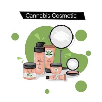 Set met natuurlijke cannabische cosmetica. cartoon stijl. illustratie.