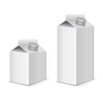 Set met papieren melk en sapproducten van tetraverpakkingen