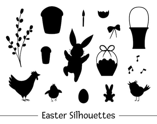 Set met pasen silhouetten. verzameling van zwarte contouren van schattig konijntje, ei, tjilpende vogel, kuiken, mand, cake, wilg. lente grappige illustratie.