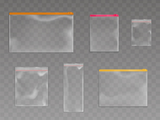 Set met plastic ritszakken Gratis Vector