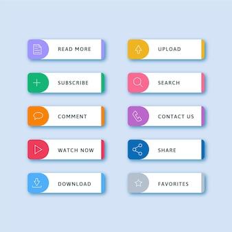 Set met platte neon call-to-action-knoppen
