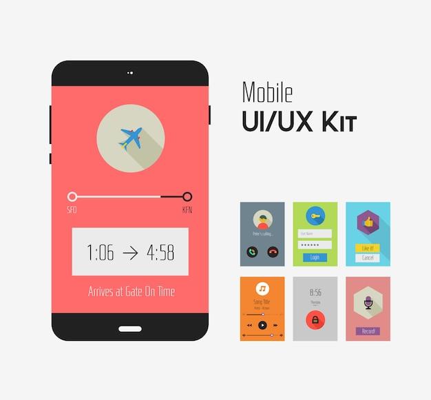 Set met platte ui of ux mobiele apps