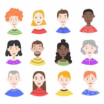 Set met portretten van verschillende mensen in een leuke cartoonstijl geïsoleerd op wit