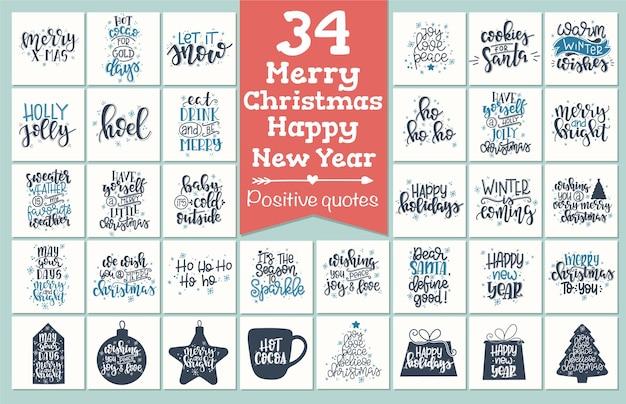 Set met prettige kerstdagen en gelukkig nieuwjaar vintage cadeau-tags en kaarten met kalligrafie. handgeschreven letters.