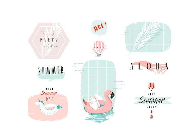 Set met roze flamingo, eenhoorn boei ringen en citaten van de moderne typografie geïsoleerd op een witte achtergrond