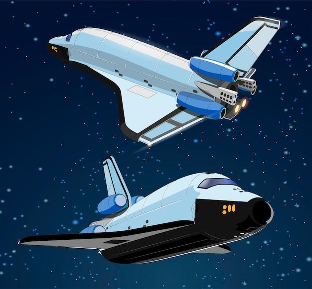 Set met ruimteschepen en satelliet in de ruimte. ruimtegeschiedenisprogramma, menselijke verkenning van de nabije ruimte. collectie met 3d-modellen die ruimteschepen vliegen. geïsoleerd