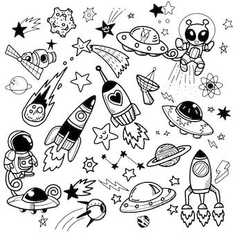Set met ruimteschepen, planeten en sterren spacedoodle-stijl geïsoleerd