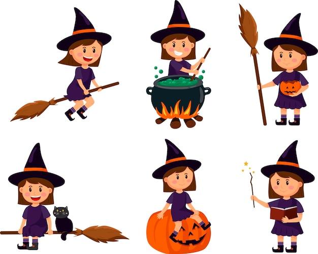 Set met schattige heksenkarakters. vectorillustratie voor halloween.