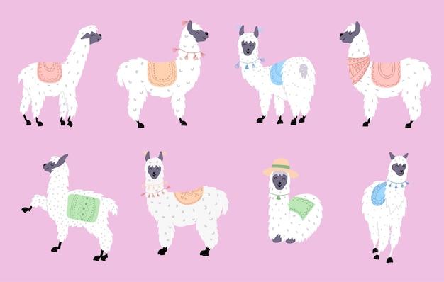 Set met schattige lama's. geïsoleerde schets cartoon baby lama vector. guanaco, alpaca, vicuna.