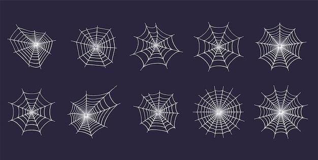 Set met spinnenwebpictogrammen. halloween-decoratie met spinnenweb. spinnenweb platte vector
