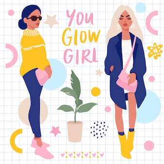 Set met stijlvolle meisjes en hand belettering. bright stickers-collectie.