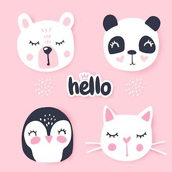 Set met tekenfilm dieren - beer, panda, konijn, pinguïn, kat.