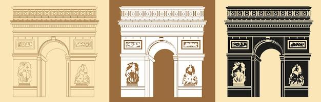 Set met triomfboog, een mijlpaal van parijs. vectorillustratie.