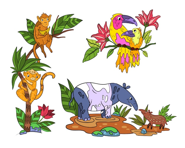 Set met tropische exotische dieren en vogels.