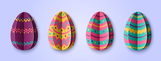 Set met veelkleurige paaseieren in papierstijl. origami-elementen geïsoleerd op een blauwe achtergrond. illustratie